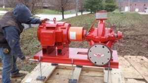 Peerless horizontal split-case fire pump install 1