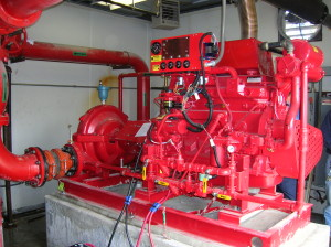 A completed diesel fire pump